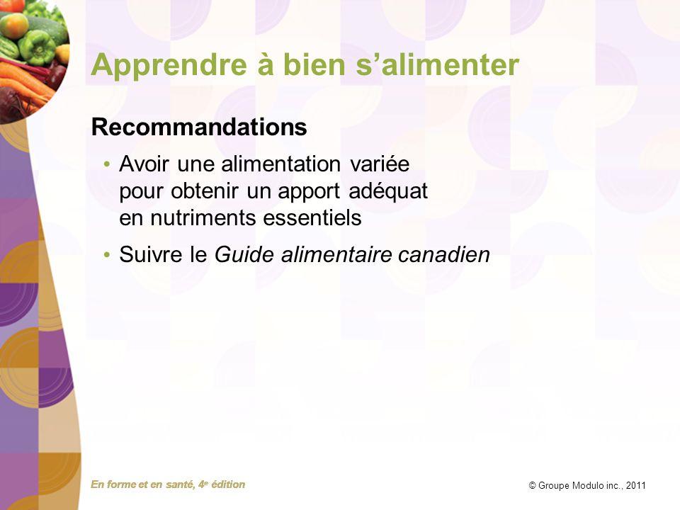 En forme et en santé, 4 e édition © Groupe Modulo inc., 2011 Apprendre à bien salimenter Recommandations Avoir une alimentation variée pour obtenir un apport adéquat en nutriments essentiels Suivre le Guide alimentaire canadien