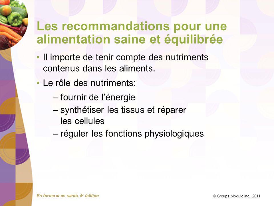 En forme et en santé, 4 e édition © Groupe Modulo inc., 2011 Les recommandations pour une alimentation saine et équilibrée Il importe de tenir compte
