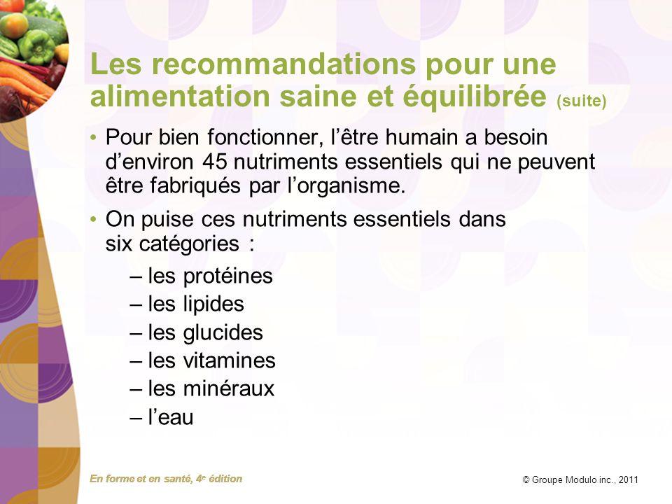 En forme et en santé, 4 e édition © Groupe Modulo inc., 2011 Les recommandations pour une alimentation saine et équilibrée (suite) Parmi les nutriments essentiels, seules les trois catégories suivantes sont des sources dénergie : –les protéines fournissent 4 Cal/g –les glucides fournissent 4 Cal/g –les lipides fournissent 9 Cal/g Lalcool, bien quil ne soit pas un nutriment essentiel, fournit 7 Cal/g.