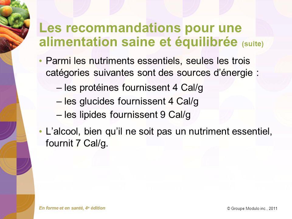 En forme et en santé, 4 e édition © Groupe Modulo inc., 2011 Les recommandations pour une alimentation saine et équilibrée (suite) Parmi les nutriment