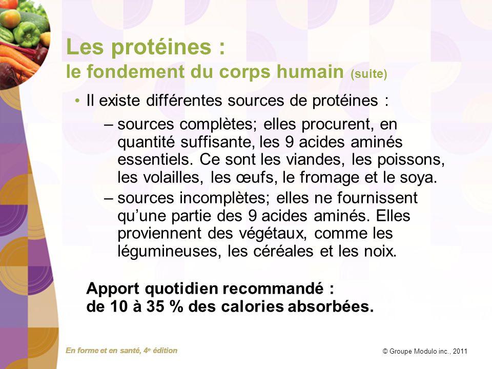 En forme et en santé, 4 e édition © Groupe Modulo inc., 2011 Les protéines : le fondement du corps humain (suite) Il existe différentes sources de pro