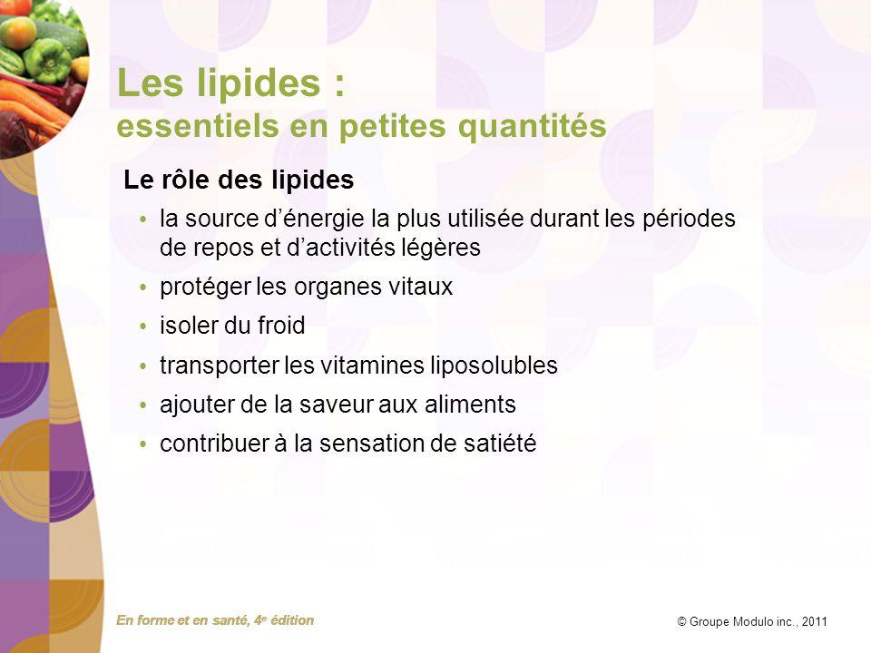En forme et en santé, 4 e édition © Groupe Modulo inc., 2011 Les lipides : essentiels en petites quantités Le rôle des lipides la source dénergie la p