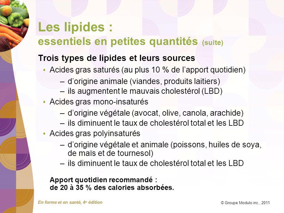 En forme et en santé, 4 e édition © Groupe Modulo inc., 2011 Les lipides : essentiels en petites quantités (suite) Trois types de lipides et leurs sou