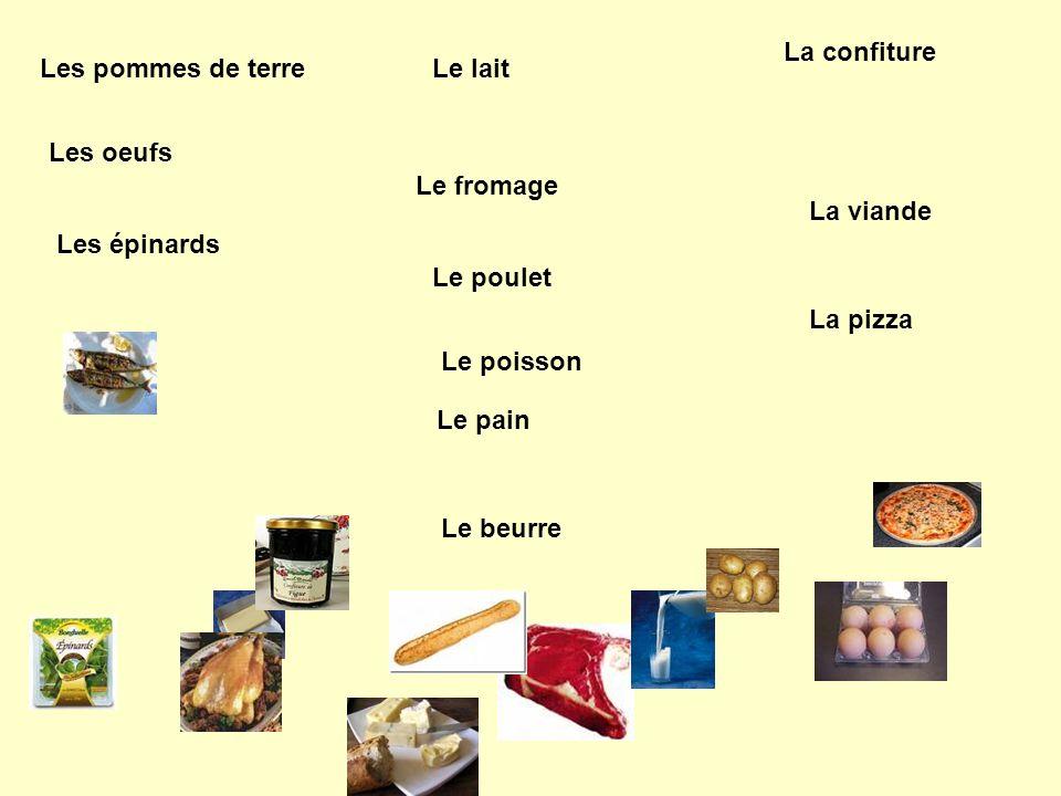 Le fromage La confiture Le beurre Le pain Le lait Le poisson Le poulet La viande La pizza Les pommes de terre Les oeufs Les épinards