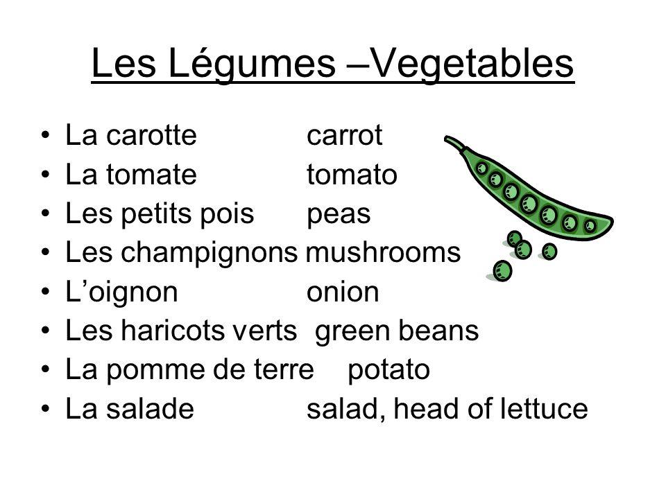 Les Légumes –Vegetables La carotte carrot La tomate tomato Les petits pois peas Les champignons mushrooms Loignon onion Les haricots verts green beans La pomme de terre potato La salade salad, head of lettuce