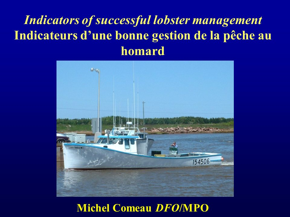 Indicator 23 BC 23 G2425 N25 S26AD26A PEI26A NS26 B Production SCUBA 1- and 2-yr Old Abundance Pre-Recruit Index Program Pre-Recruits Catch Rate Trawl Survey 2005 Pre-Recruit Abundance At-Sea Sampling Program CPUE Berried Females in the Catch Indicators used to Assess the 2005 Lobster (Homarus americanus) Stock Status Indicateurs utilisés durant lévaluation du stock de homard (Homarus americanus) en 2005