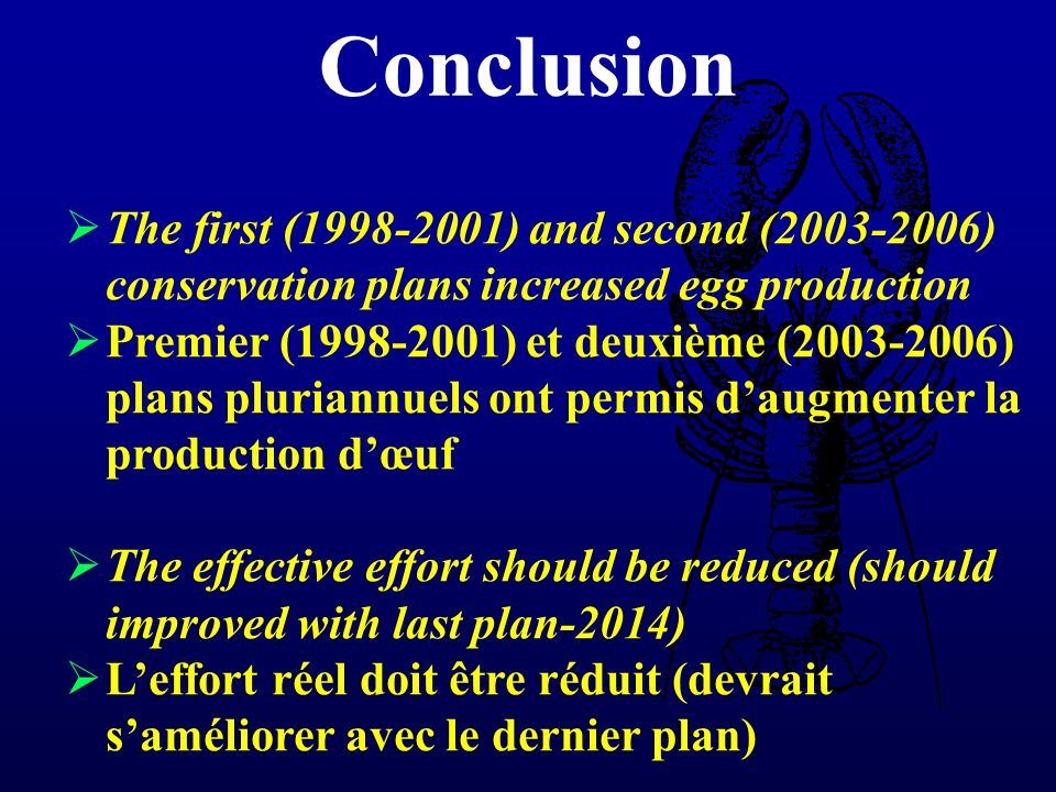 Conclusion The first (1998-2001) and second (2003-2006) conservation plans increased egg production Premier (1998-2001) et deuxième (2003-2006) plans pluriannuels ont permis daugmenter la production dœuf The effective effort should be reduced (should improved with last plan-2014) Leffort réel doit être réduit (devrait saméliorer avec le dernier plan)