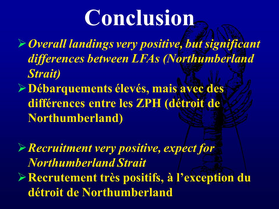 Overall landings very positive, but significant differences between LFAs (Northumberland Strait) Débarquements élevés, mais avec des différences entre les ZPH (détroit de Northumberland) Recruitment very positive, expect for Northumberland Strait Recrutement très positifs, à lexception du détroit de Northumberland Conclusion