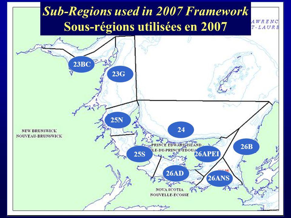 Sub-Regions used in 2007 Framework Sous-régions utilisées en 2007 23BC 26ANS 26APEI 26AD 26B 24 25S 25N 23G