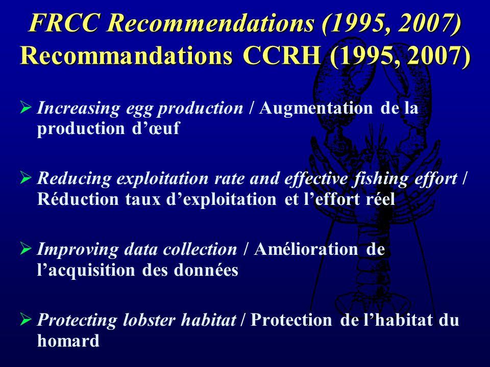 Increasing egg production / Augmentation de la production dœuf Reducing exploitation rate and effective fishing effort / Réduction taux dexploitation