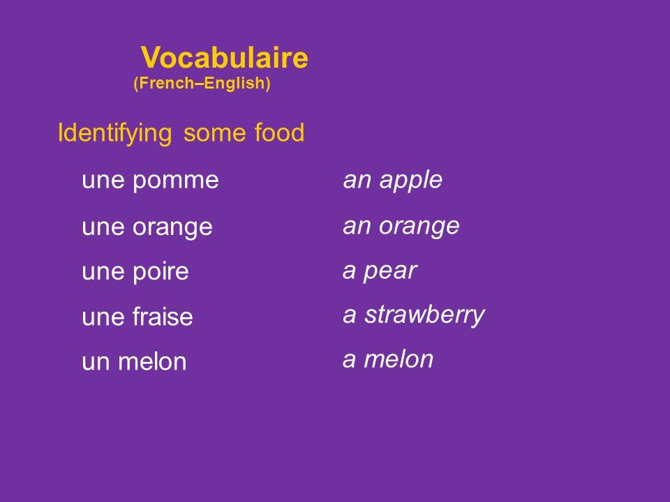 Identifying some food du vinaigre de leau minérale de la moutarde un fruit vinegar mineral water mustard a fruit une banane a banana Vocabulaire (Fren