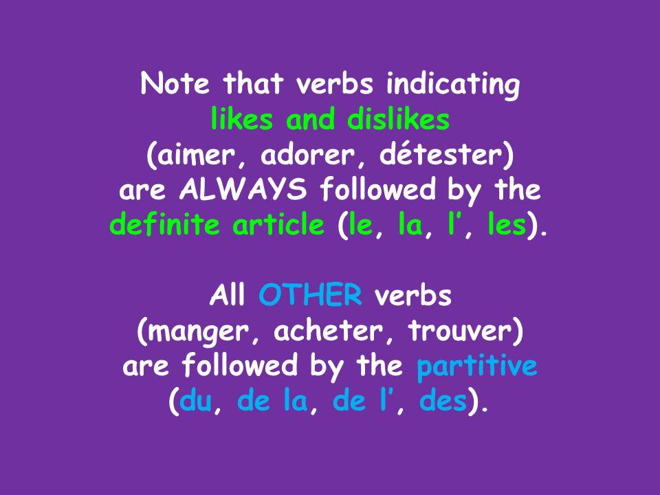 Larticle défini THE DEFINITE ARTICLE le, la, l, les (ALL or WHOLE) Le partitif de + the definite article (made with de + the definite article) THE PAR