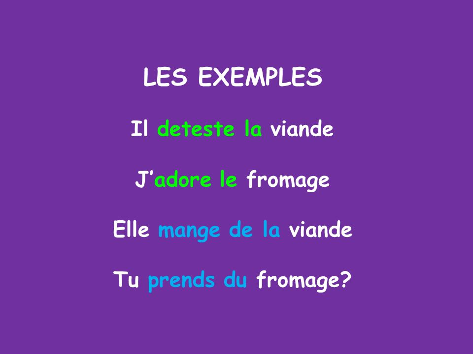 Note that verbs indicating likes and dislikes (aimer, adorer, détester) are ALWAYS followed by the definite article (le, la, l, les). All OTHER verbs