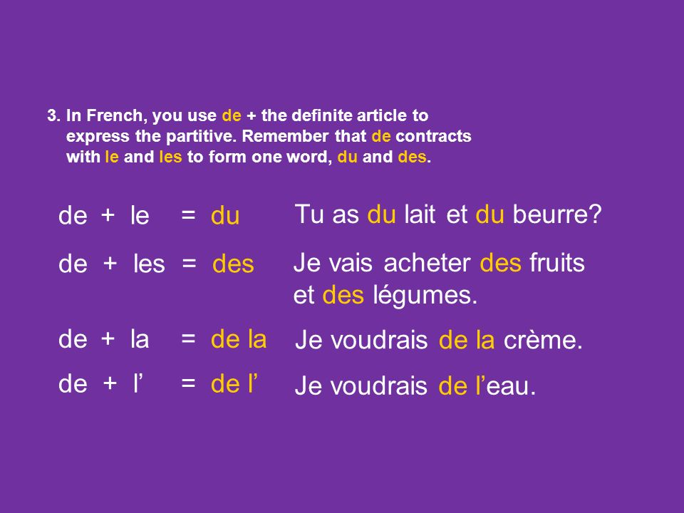 1. In French, you use the definite article (le, la, l, les) when talking about something in a general sense, or ALL of something. DEFINITE ARTICLE and