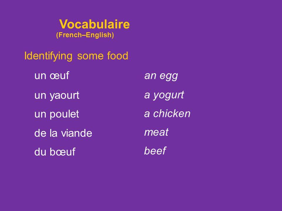 Identifying some food un œuf un yaourt un poulet de la viande an egg a yogurt a chicken meat du bœuf beef Vocabulaire (French–English)