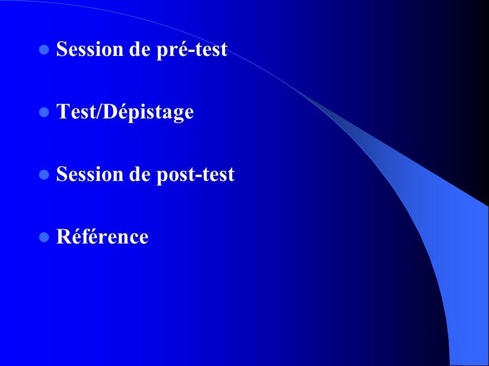 Session de pré-test Test/Dépistage Session de post-test Référence