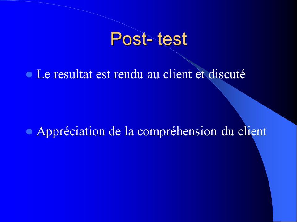 Post- test Le resultat est rendu au client et discuté Appréciation de la compréhension du client