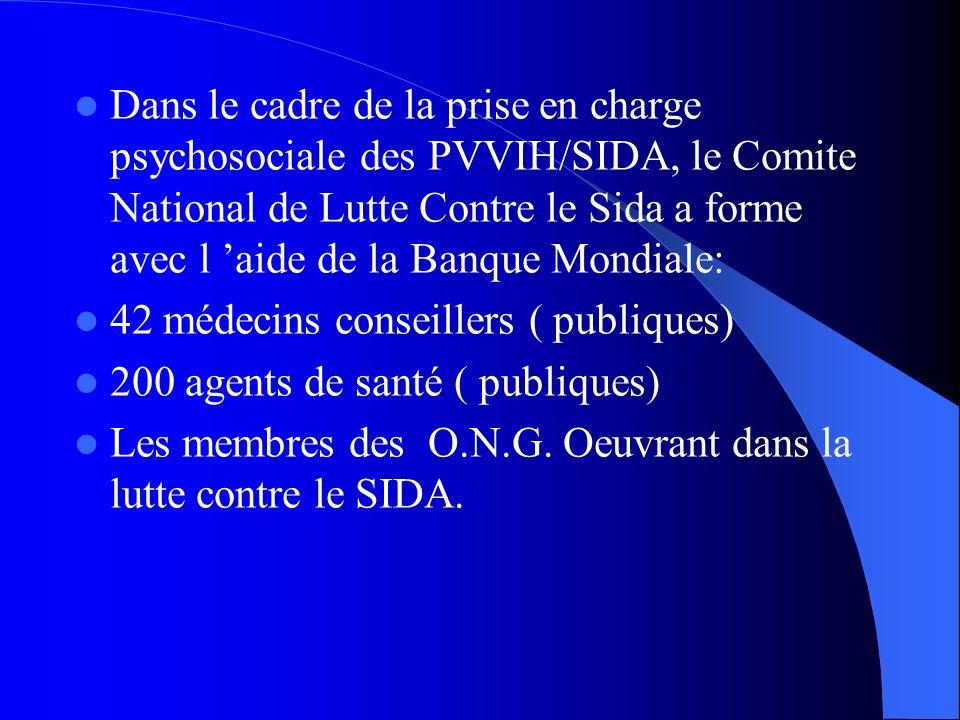 Dans le cadre de la prise en charge psychosociale des PVVIH/SIDA, le Comite National de Lutte Contre le Sida a forme avec l aide de la Banque Mondiale