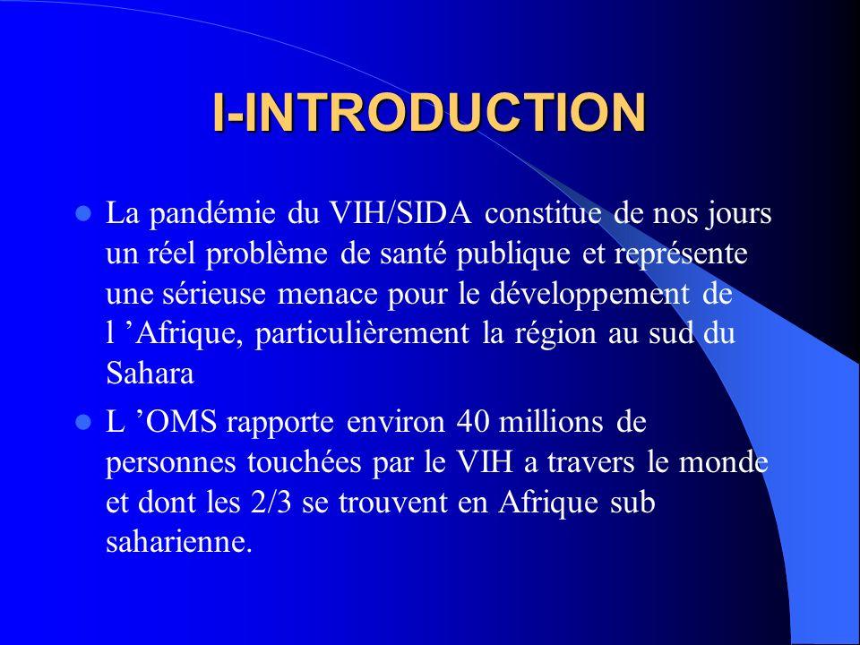 I-INTRODUCTION La pandémie du VIH/SIDA constitue de nos jours un réel problème de santé publique et représente une sérieuse menace pour le développeme