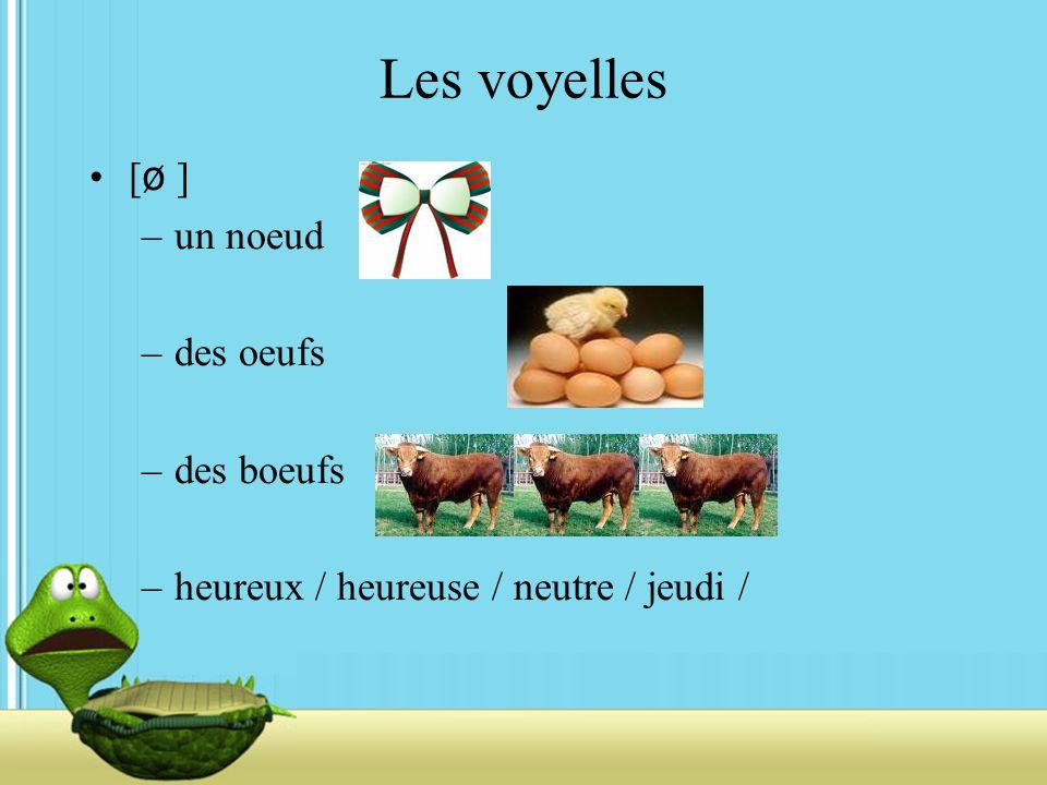 Les voyelles [ ø ] –un noeud –des oeufs –des boeufs –heureux / heureuse / neutre / jeudi /