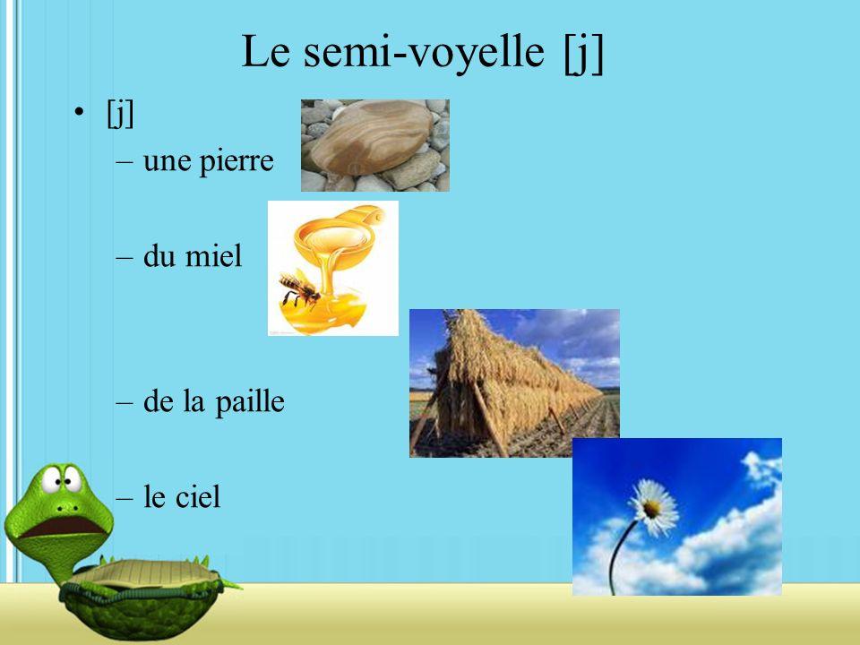 Le semi-voyelle [j] [j] –une pierre –du miel –de la paille –le ciel