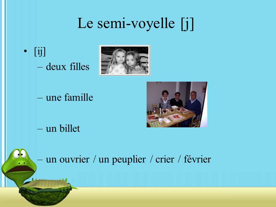 Le semi-voyelle [j] [ij] –deux filles –une famille –un billet –un ouvrier / un peuplier / crier / février