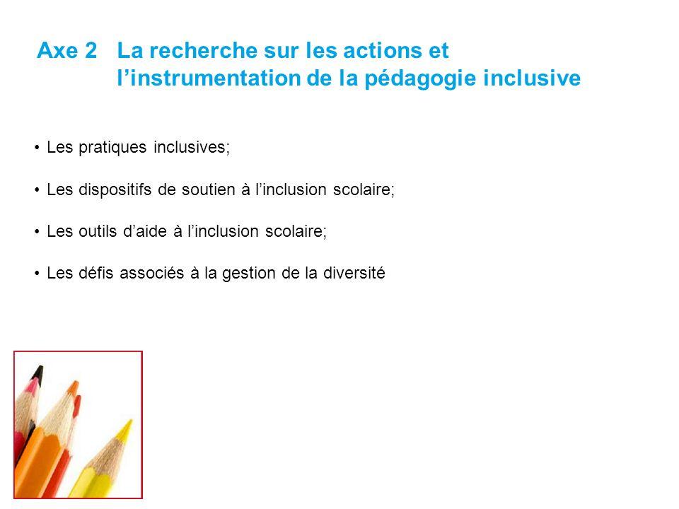 Les pratiques inclusives; Les dispositifs de soutien à linclusion scolaire; Les outils daide à linclusion scolaire; Les défis associés à la gestion de la diversité Axe 2La recherche sur les actions et linstrumentation de la pédagogie inclusive 7