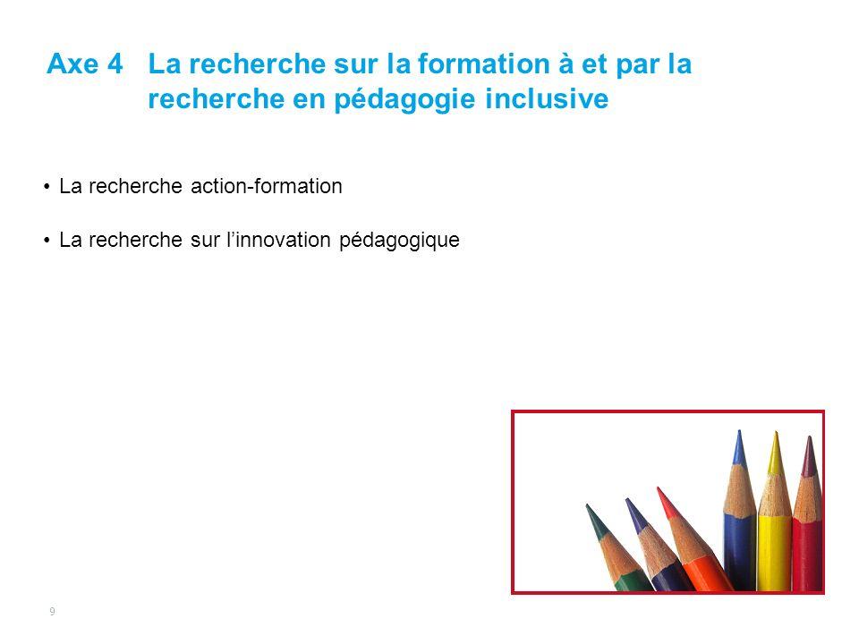 La recherche action-formation La recherche sur linnovation pédagogique Axe 4La recherche sur la formation à et par la recherche en pédagogie inclusive 9
