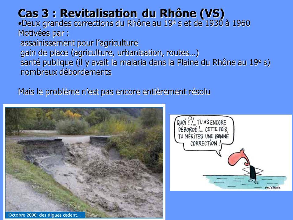 Cas 3 : Revitalisation du Rhône (VS) Deux grandes corrections du Rhône au 19 e s et de 1930 à 1960 Motivées par : assainissement pour lagriculture gai