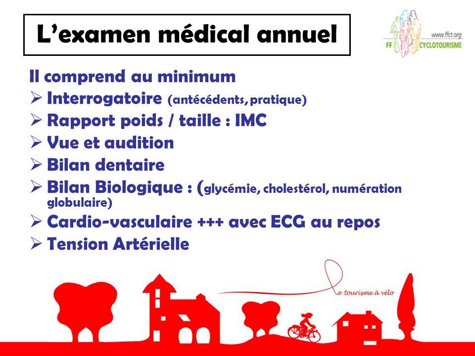 Lexamen médical annuel Il comprend au minimum Interrogatoire (antécédents, pratique) Rapport poids / taille : IMC Vue et audition Bilan dentaire Bilan