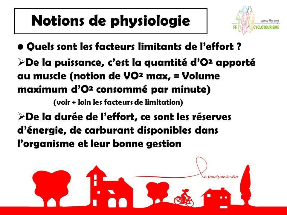 Notions de physiologie Quels sont les facteurs limitants de leffort ? De la puissance, cest la quantité dO² apporté au muscle (notion de VO² max, = Vo