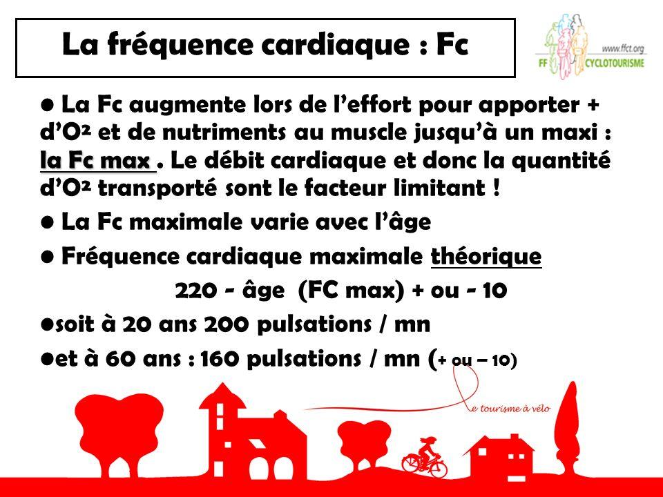 La fréquence cardiaque : Fc la Fc max La Fc augmente lors de leffort pour apporter + dO² et de nutriments au muscle jusquà un maxi : la Fc max.