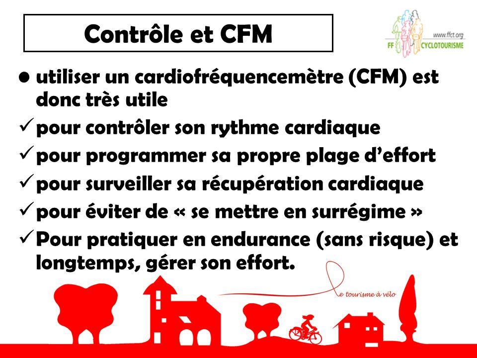 Contrôle et CFM utiliser un cardiofréquencemètre (CFM) est donc très utile pour contrôler son rythme cardiaque pour programmer sa propre plage deffort pour surveiller sa récupération cardiaque pour éviter de « se mettre en surrégime » Pour pratiquer en endurance (sans risque) et longtemps, gérer son effort.