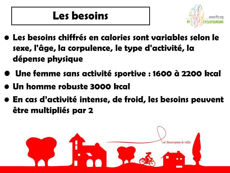 Les besoins Les besoins chiffrés en calories sont variables selon le sexe, l'âge, la corpulence, le type d'activité, la dépense physique Une femme san