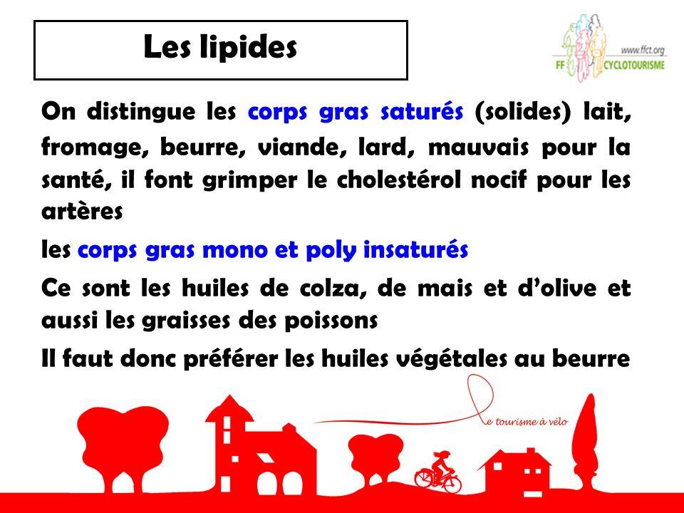 Les lipides On distingue les corps gras saturés (solides) lait, fromage, beurre, viande, lard, mauvais pour la santé, il font grimper le cholestérol n