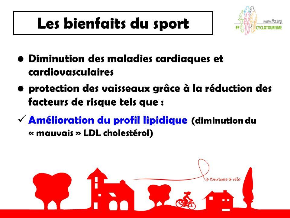 Les bienfaits du sport Diminution des maladies cardiaques et cardiovasculaires protection des vaisseaux grâce à la réduction des facteurs de risque tels que : Amélioration du profil lipidique (diminution du « mauvais » LDL cholestérol)