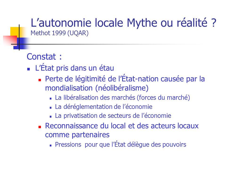 Lautonomie locale Mythe ou réalité .