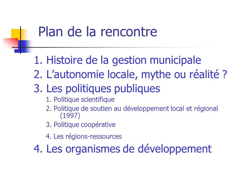Plan de la rencontre 1.Histoire de la gestion municipale 2.