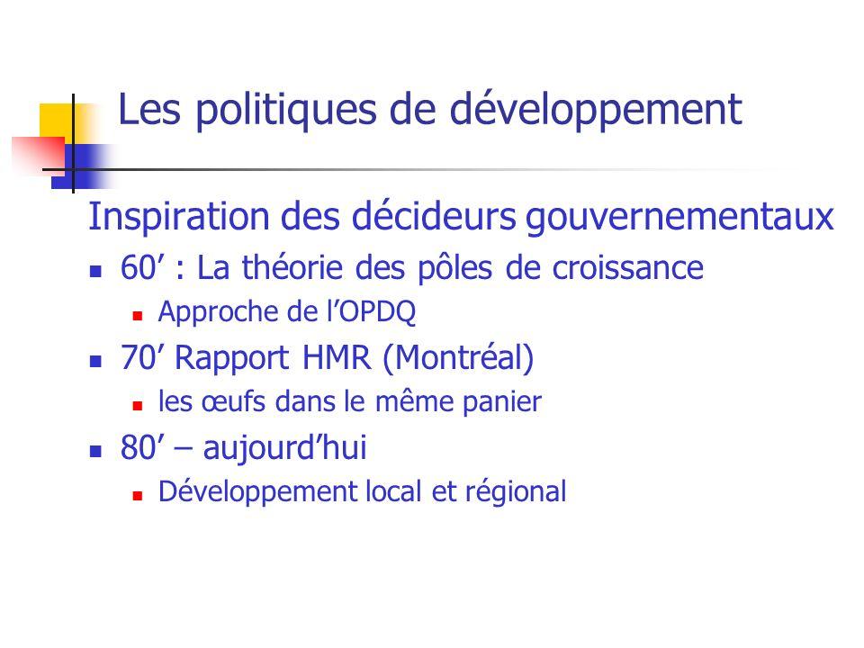 Les politiques de développement Inspiration des décideurs gouvernementaux 60 : La théorie des pôles de croissance Approche de lOPDQ 70 Rapport HMR (Montréal) les œufs dans le même panier 80 – aujourdhui Développement local et régional