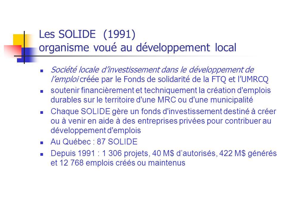 Les SOLIDE (1991) organisme voué au développement local Société locale dinvestissement dans le développement de lemploi créée par le Fonds de solidarité de la FTQ et lUMRCQ soutenir financièrement et techniquement la création d emplois durables sur le territoire d une MRC ou d une municipalité Chaque SOLIDE gère un fonds d investissement destiné à créer ou à venir en aide à des entreprises privées pour contribuer au développement d emplois Au Québec : 87 SOLIDE Depuis 1991 : 1 306 projets, 40 M$ dautorisés, 422 M$ générés et 12 768 emplois créés ou maintenus
