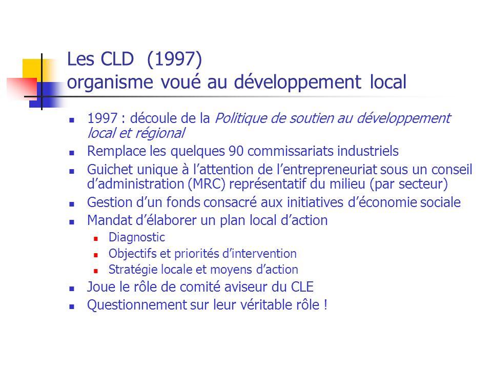 Les CLD (1997) organisme voué au développement local 1997 : découle de la Politique de soutien au développement local et régional Remplace les quelques 90 commissariats industriels Guichet unique à lattention de lentrepreneuriat sous un conseil dadministration (MRC) représentatif du milieu (par secteur) Gestion dun fonds consacré aux initiatives déconomie sociale Mandat délaborer un plan local daction Diagnostic Objectifs et priorités dintervention Stratégie locale et moyens daction Joue le rôle de comité aviseur du CLE Questionnement sur leur véritable rôle !