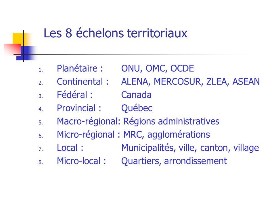 Les 8 échelons territoriaux 1.Planétaire : ONU, OMC, OCDE 2.