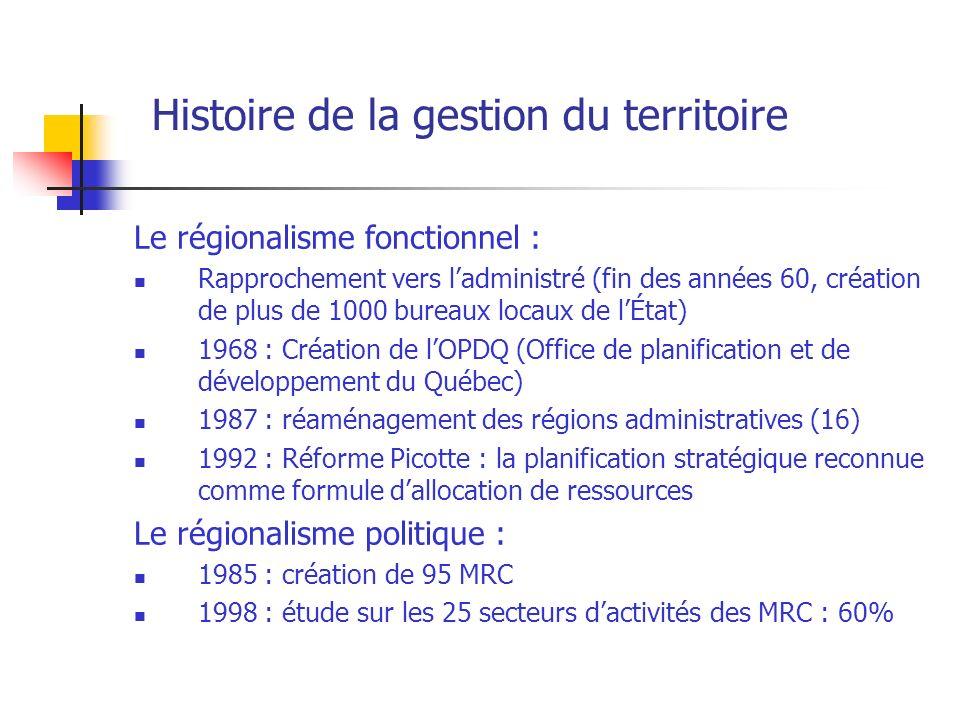 Histoire de la gestion du territoire Le régionalisme fonctionnel : Rapprochement vers ladministré (fin des années 60, création de plus de 1000 bureaux locaux de lÉtat) 1968 : Création de lOPDQ (Office de planification et de développement du Québec) 1987 : réaménagement des régions administratives (16) 1992 : Réforme Picotte : la planification stratégique reconnue comme formule dallocation de ressources Le régionalisme politique : 1985 : création de 95 MRC 1998 : étude sur les 25 secteurs dactivités des MRC : 60%