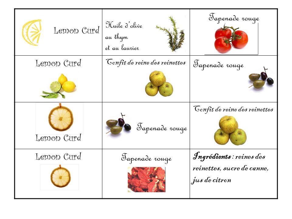 Lemon Curd Huile dolive au thym et au laurier Tapenade rouge Lemon Curd Confit de reine des reinettes Tapenade rouge Lemon Curd Tapenade rouge Confit