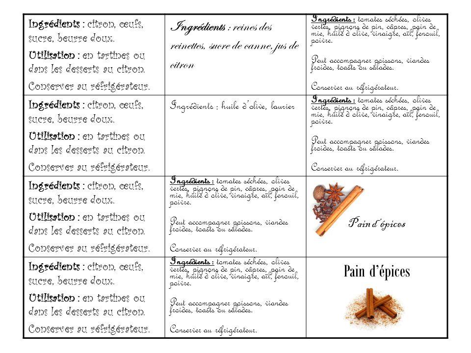 Ingrédients : citron, œufs, sucre, beurre doux. Utilisation : en tartines ou dans les desserts au citron. Conserver au réfrigérateur. Ingrédients : re