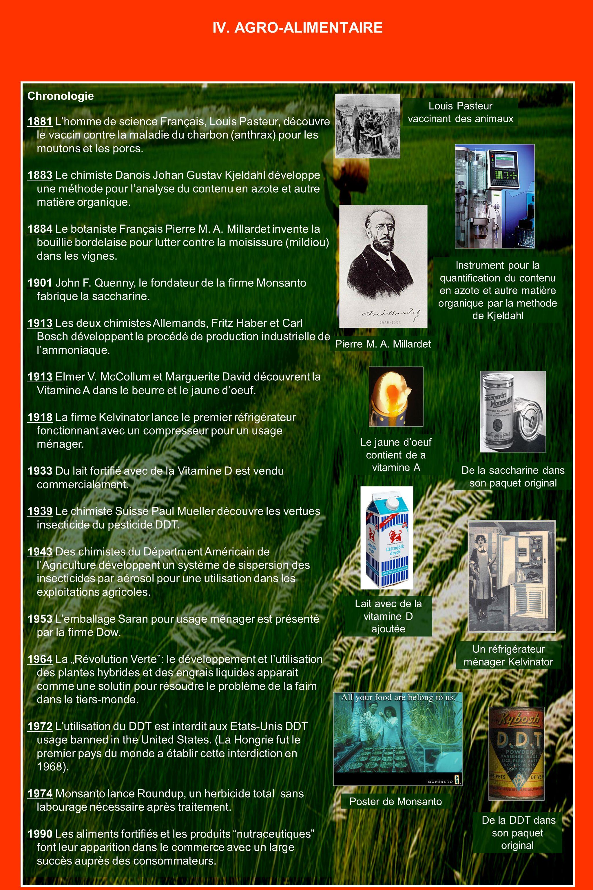 Chronologie 1881 Lhomme de science Français, Louis Pasteur, découvre le vaccin contre la maladie du charbon (anthrax) pour les moutons et les porcs.