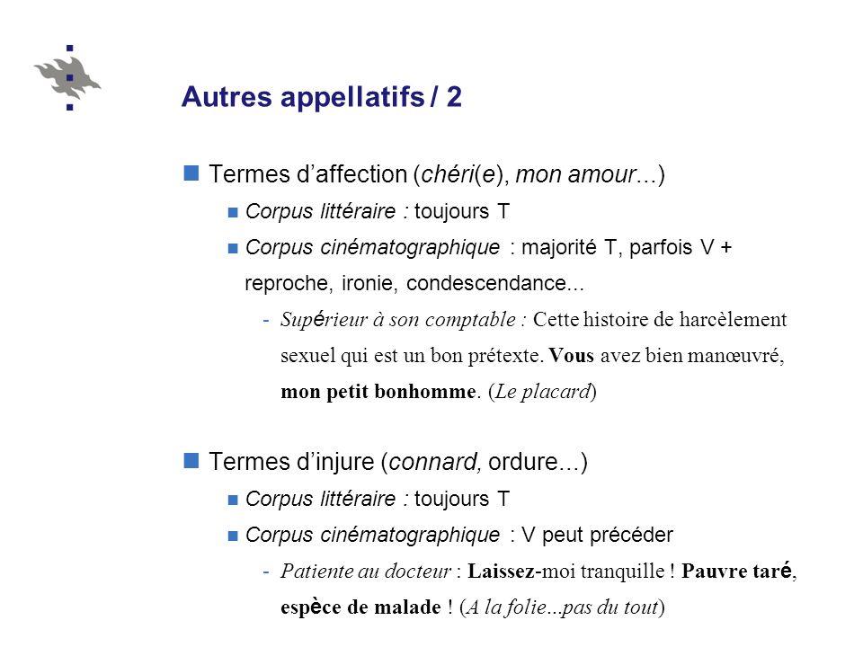 Autres appellatifs / 2 Termes daffection (chéri(e), mon amour...) Corpus littéraire : toujours T Corpus cinématographique : majorité T, parfois V + re