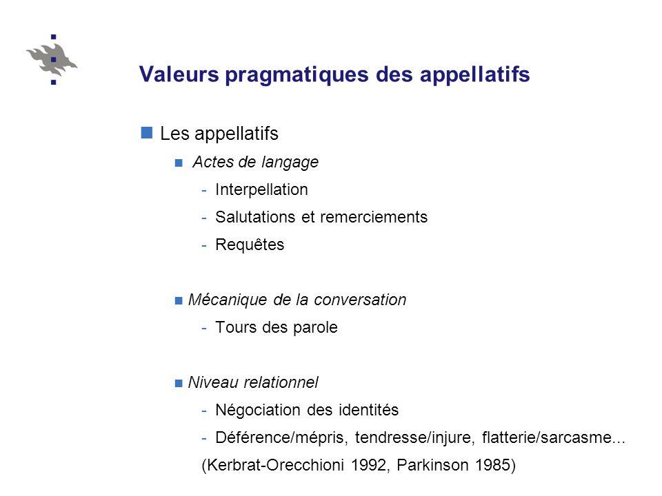 Valeurs pragmatiques des appellatifs Les appellatifs Actes de langage -Interpellation -Salutations et remerciements -Requêtes Mécanique de la conversa