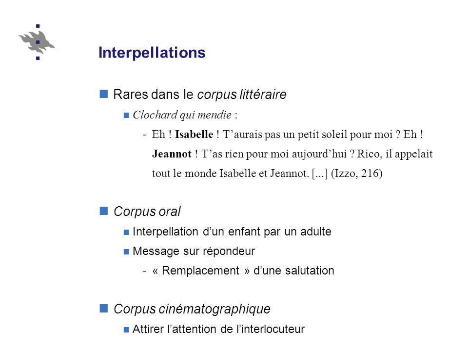 Interpellations Rares dans le corpus littéraire Clochard qui mendie : -Eh ! Isabelle ! Taurais pas un petit soleil pour moi ? Eh ! Jeannot ! Tas rien
