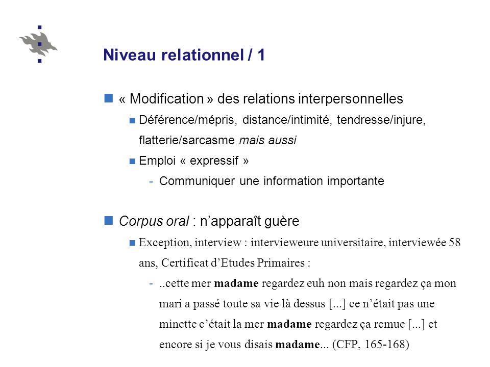 Niveau relationnel / 1 « Modification » des relations interpersonnelles Déférence/mépris, distance/intimité, tendresse/injure, flatterie/sarcasme mais